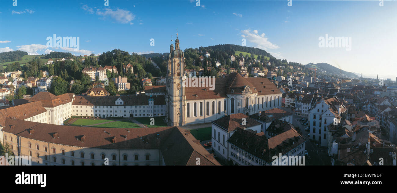 arrangement church city cloister collegiate church culture enclosure old town panorama St. Gallen Switzerl - Stock Image