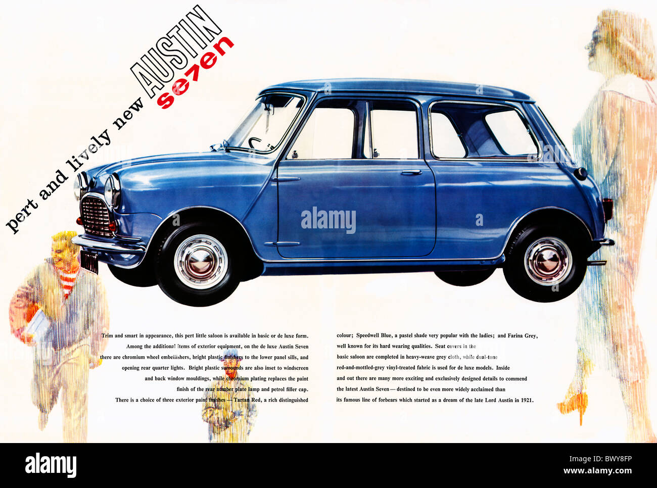 Austin Seven, 1959 brochure page for the Pert And Lively new British car which became the iconic Mini - Stock Image