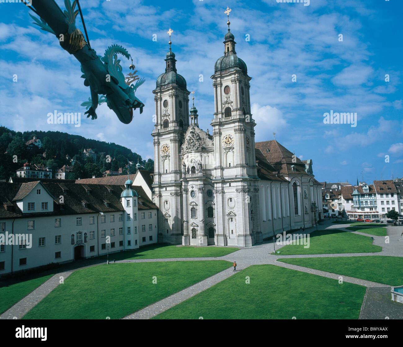 arrangement church city cloister collegiate church culture enclosure gargoyle St. Gallen town Switzerland - Stock Image
