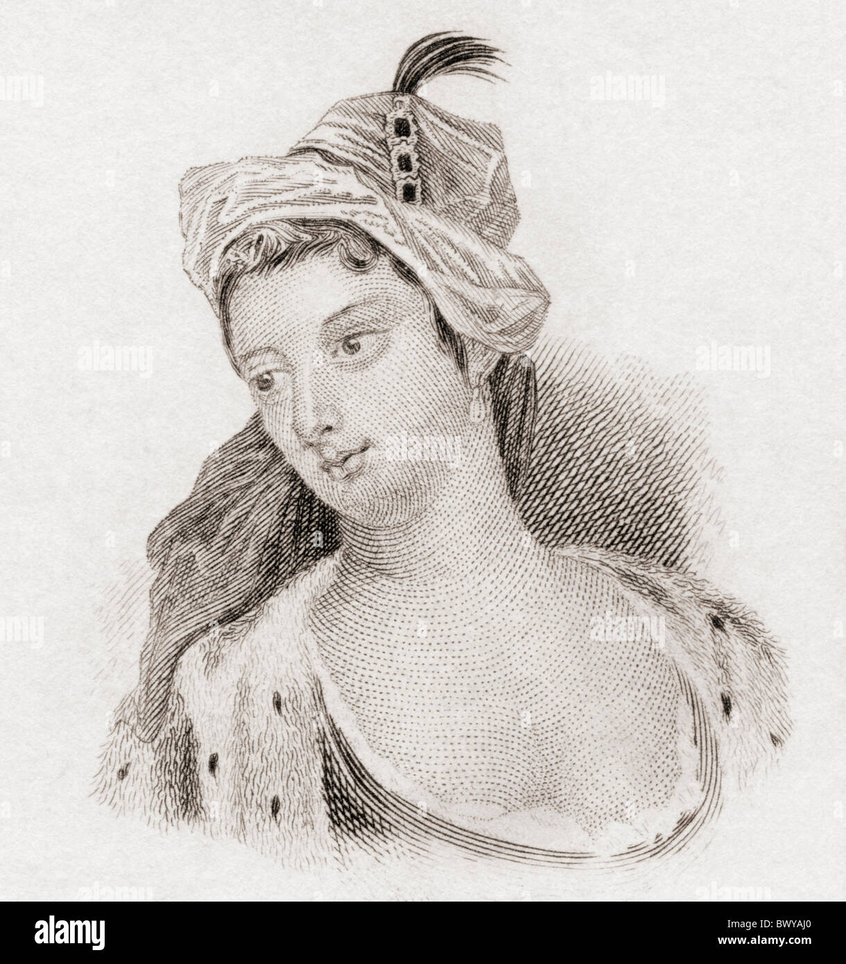 The Lady Mary Wortley Montagu, 1689 to 1762. English aristocrat and writer. - Stock Image