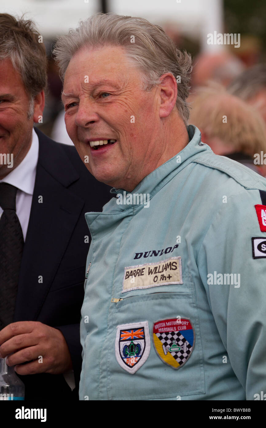 "Classic car race driver Barrie ""Whizzo"" Williams at the 2010 Goodwood Revival meeting, Sussex, England, UK. Stock Photo"