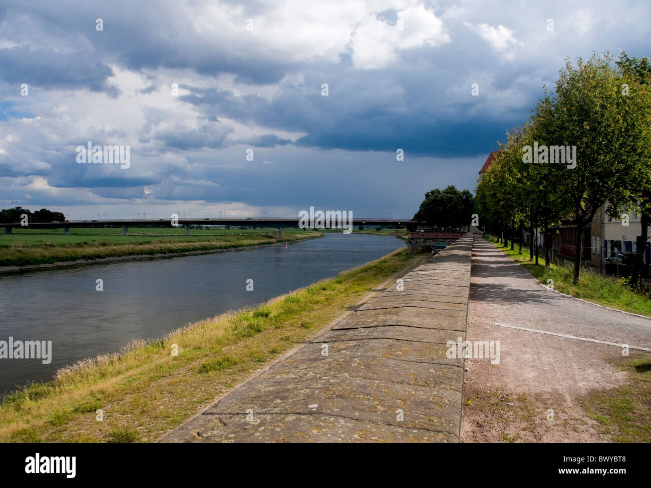 Torgau and a stretch of the Elbe river Stock Photo