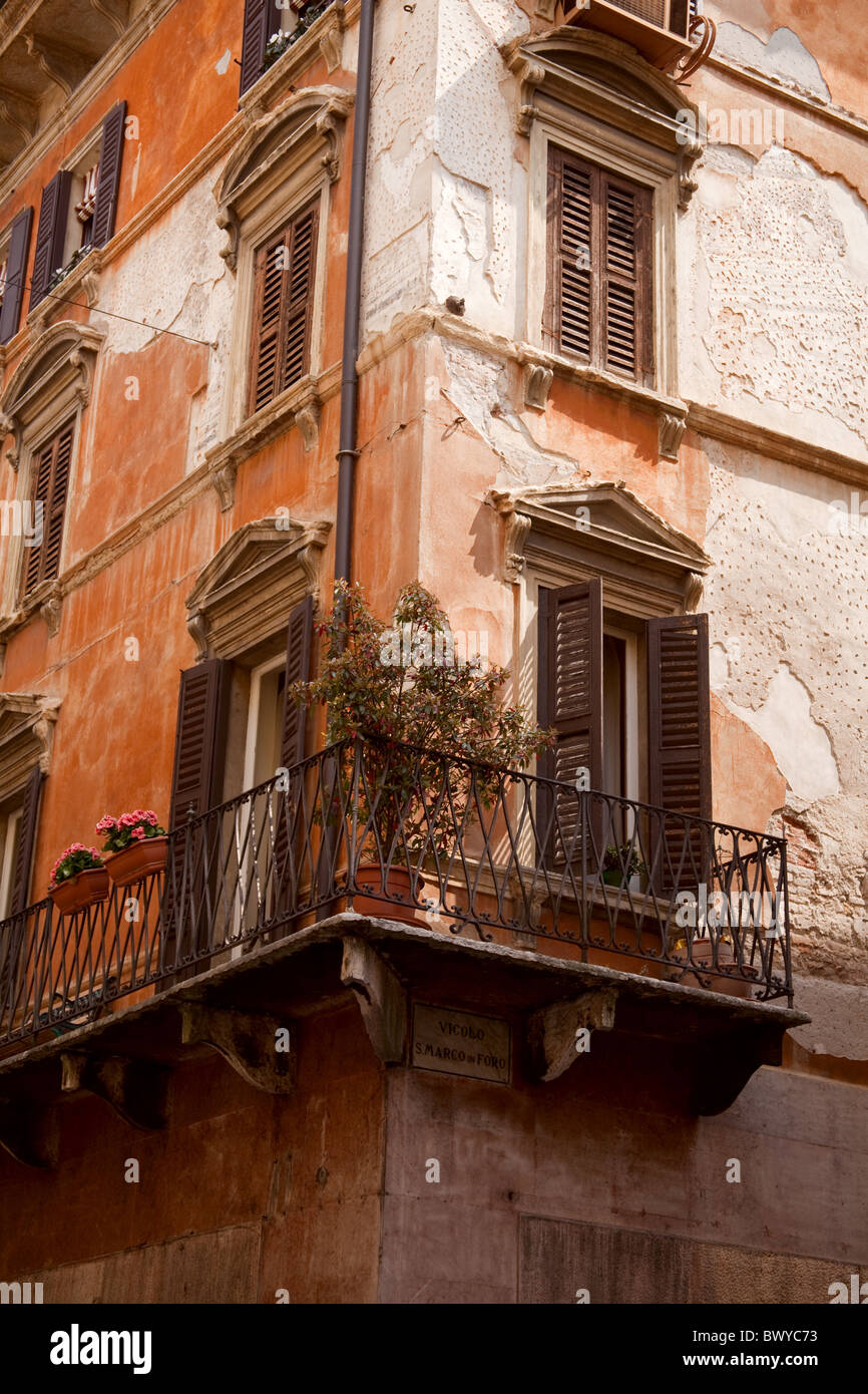 Dilapidated house in centre of city of Verona Italy - Stock Image