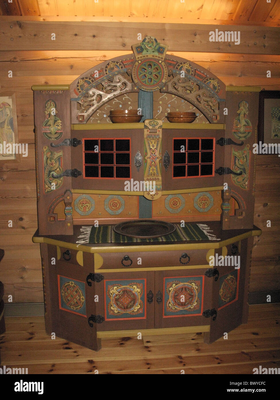Traditional painted wooden sideboard, Dagestad Museum, Voss, Hordaland, Norway. - Stock Image
