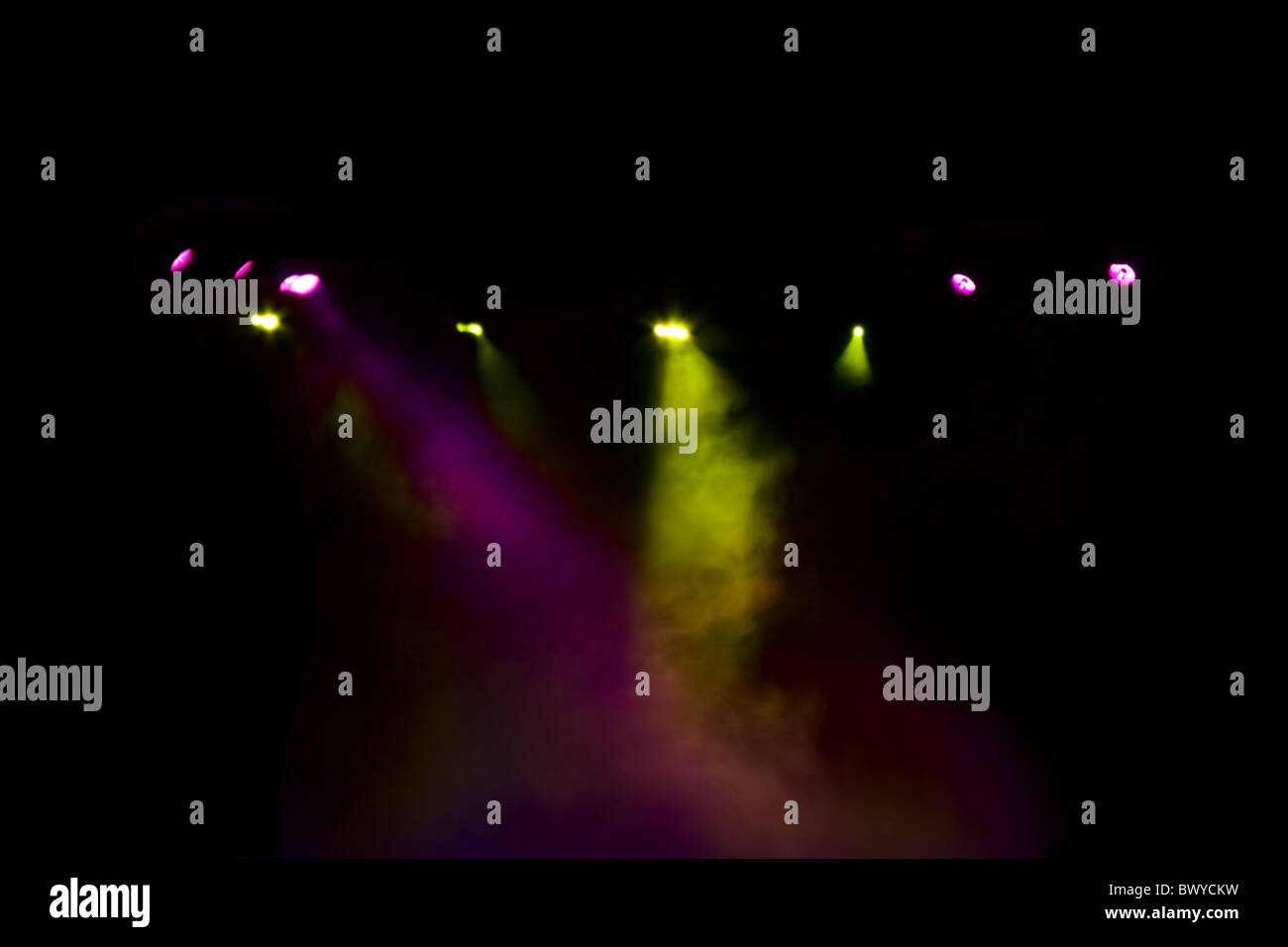 diffuse light from the disco lights in the dark - Stock Image