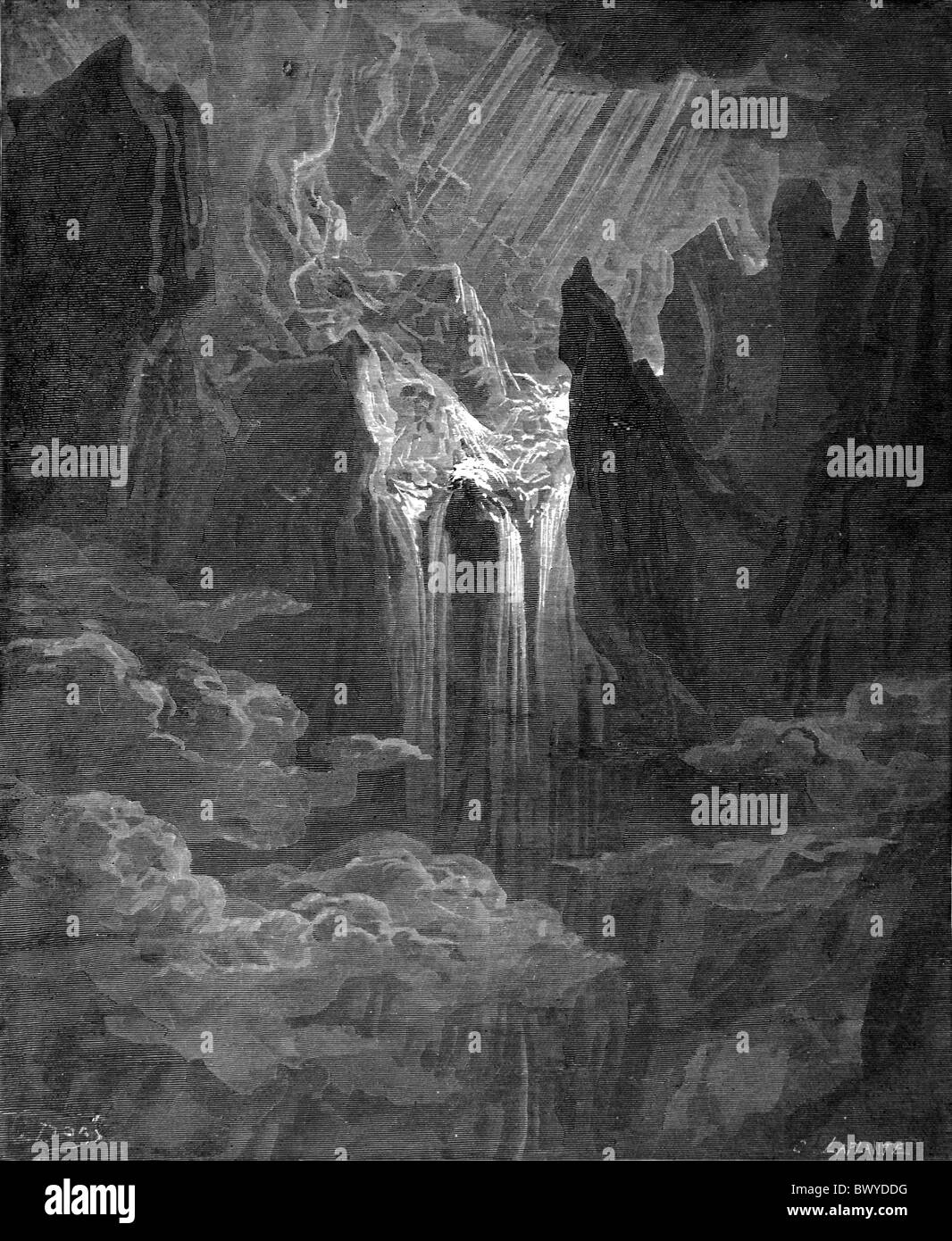 Gustave Doré; The Gathering of the Waters at the Creation from John Milton's Paradise Lost; Black and White - Stock Image