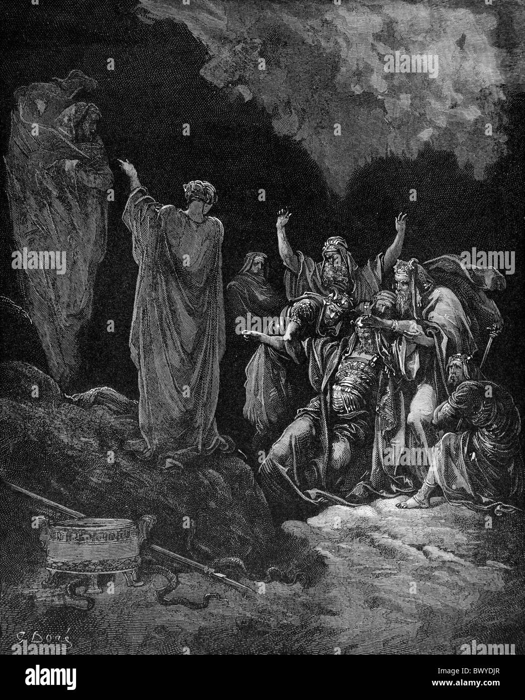 Gustave Doré; Saul consulting the Witch of Endor (1 Samuel Ch 28); Black and White Engraving - Stock Image