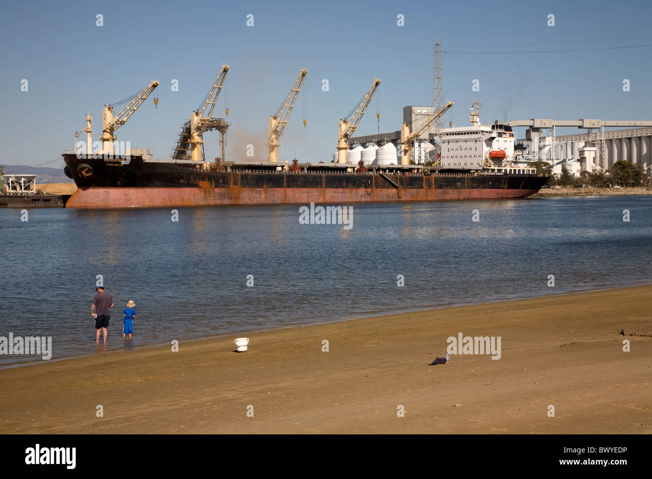 Cargo ship Being Loaded Port Adelaide Australia Stock Photo