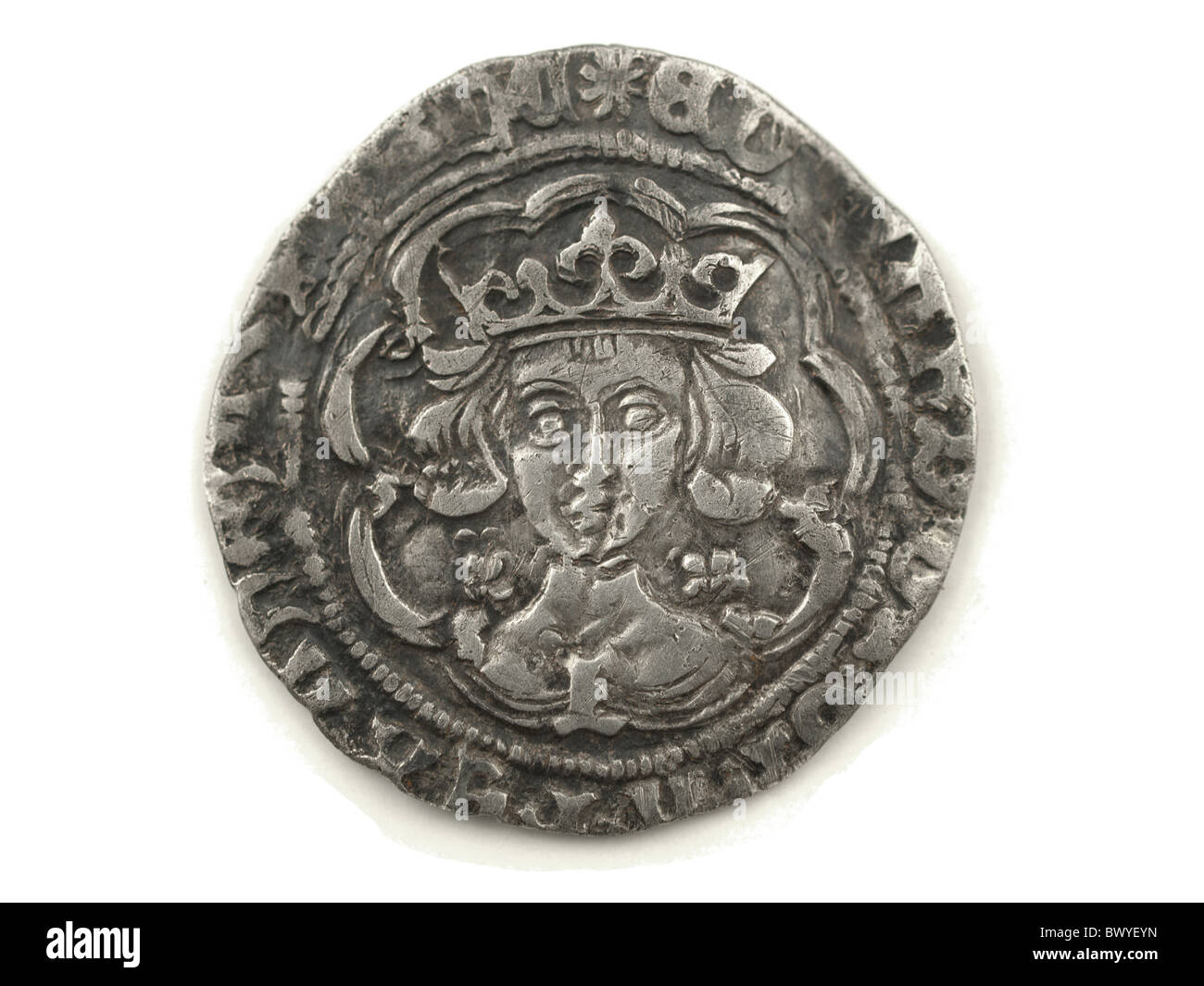 A hammered silver groat of Edward IV - metal detecting find - Stock Image