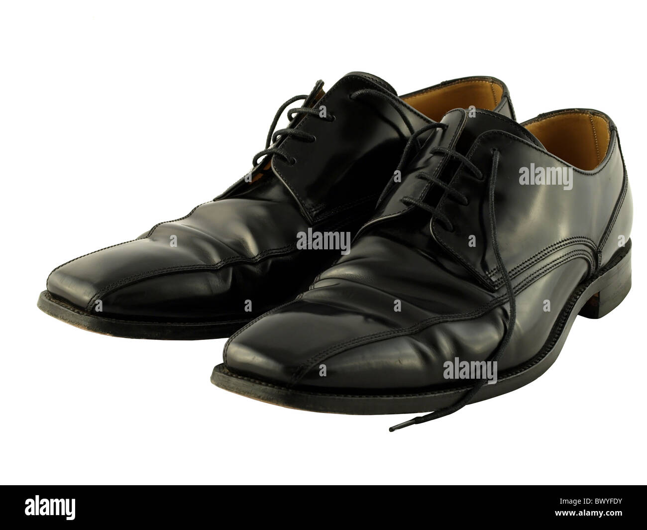 A comfortable pair of black leather traditional lace up shoes. - Stock Image