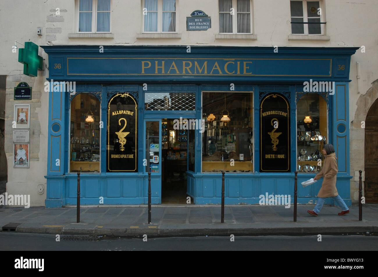 drugstore outside facade france europe stock photos. Black Bedroom Furniture Sets. Home Design Ideas