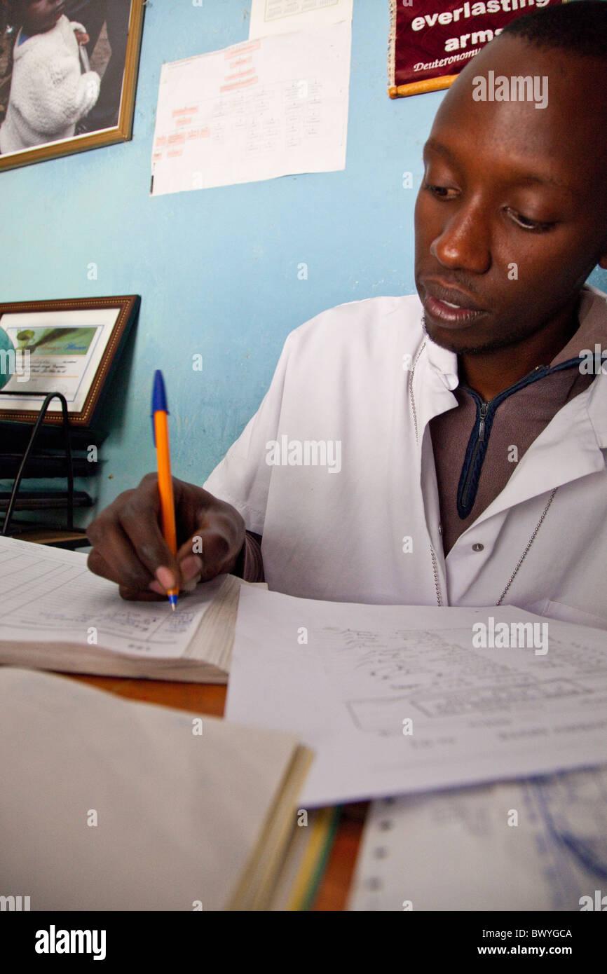 Bookkeeper at Maji Mazuri Children's Centre, Nairobi, Kenya - Stock Image