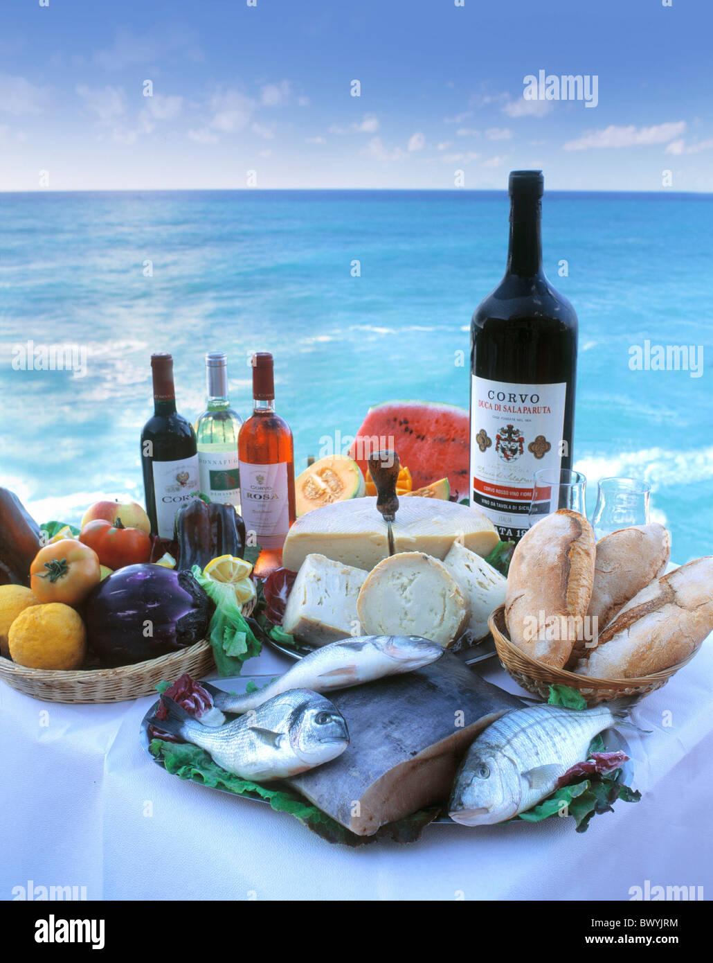 bread cheese coast Corvo wine cuisine fish food Italy Europe kitchen ...