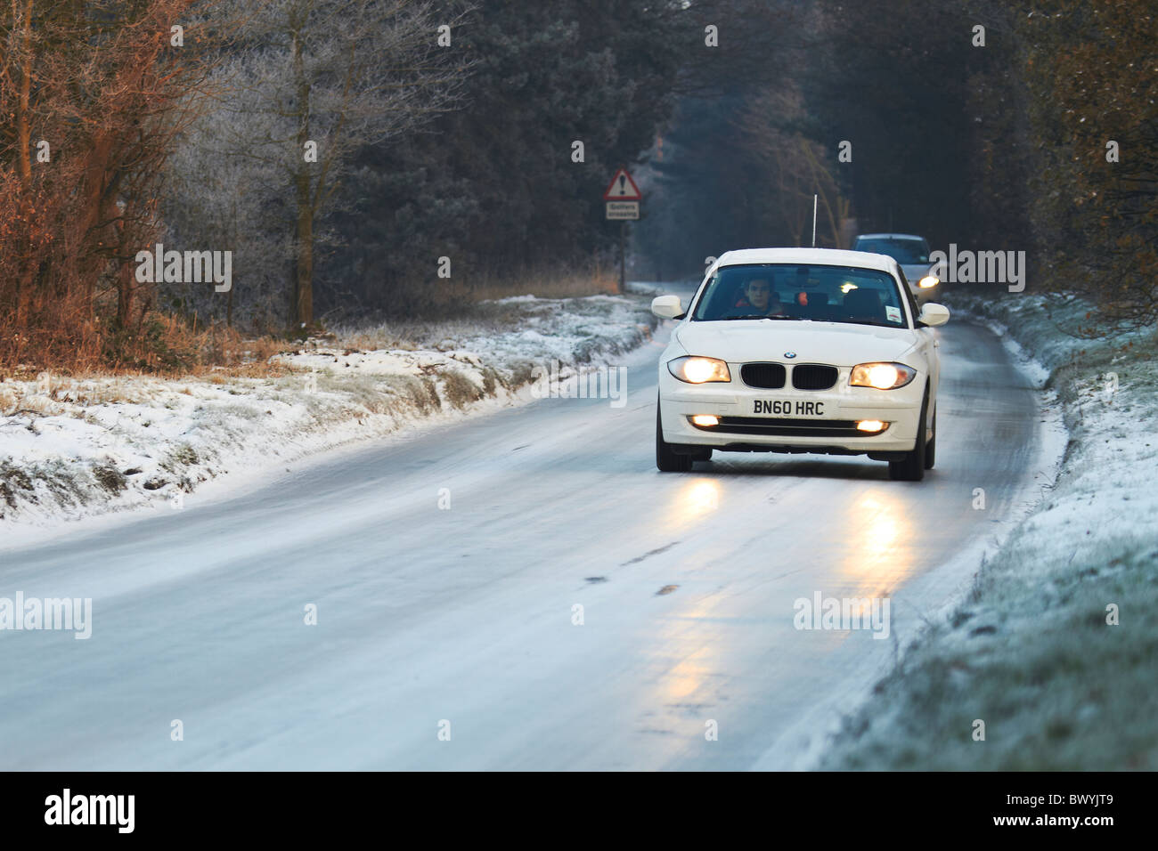 Black Ice on Country Roads - Stock Image