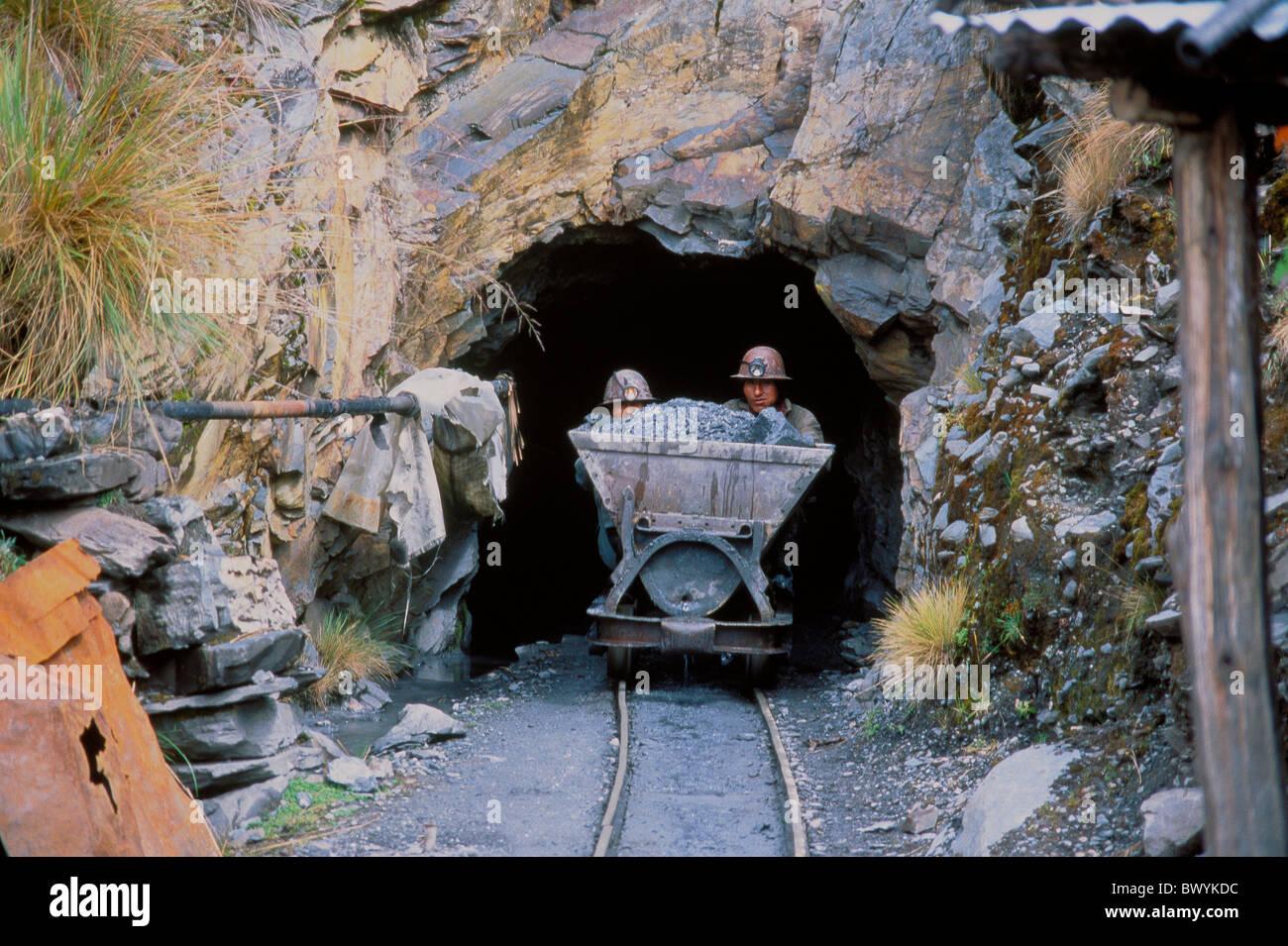 worker mining Bolivia South America Cordillera Real El Suerta mine car gold golden mine Sorata tunnel sto - Stock Image