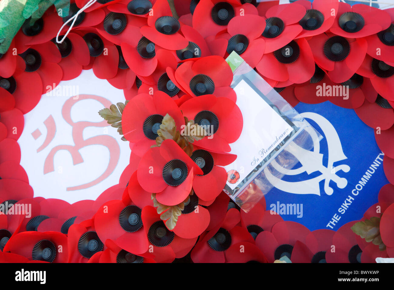 Poppy Wreaths at the War Memorial Bradford West Yorkshire England - Stock Image
