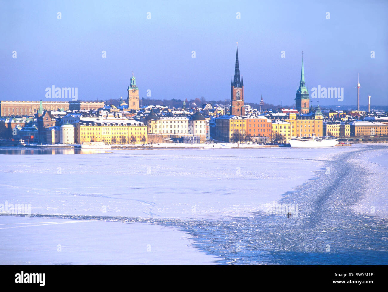 ice froze coast lake painting ares sea Riddarholmen Sweden Europe town city Stockholm overview winter - Stock Image