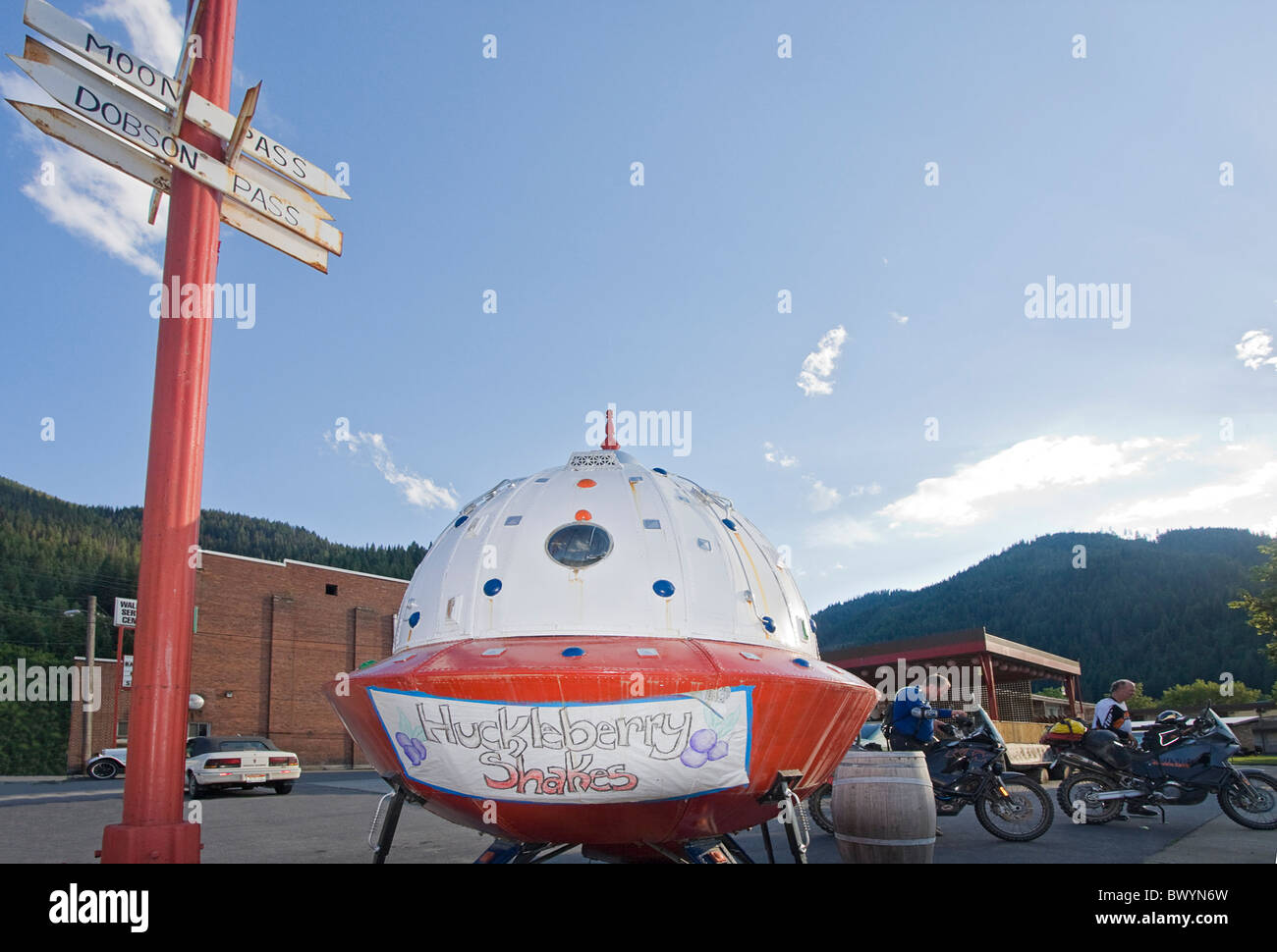 'Spaceship' advertising local favorate huckleberry icecream, one of many quirky things in Wallace, a small - Stock Image