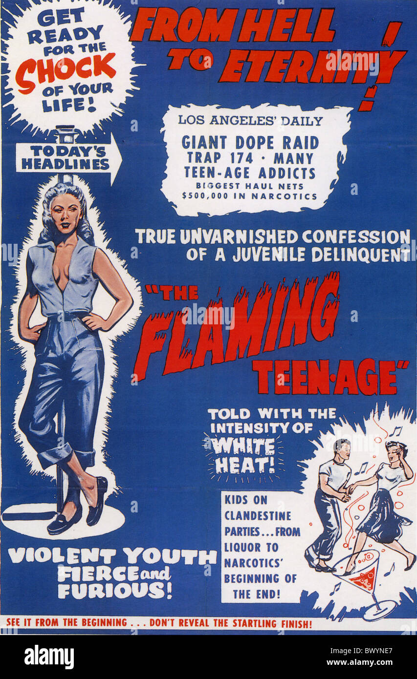 THE FLAMING TEEN-AGE  Poster for 1957 Truman film - Stock Image