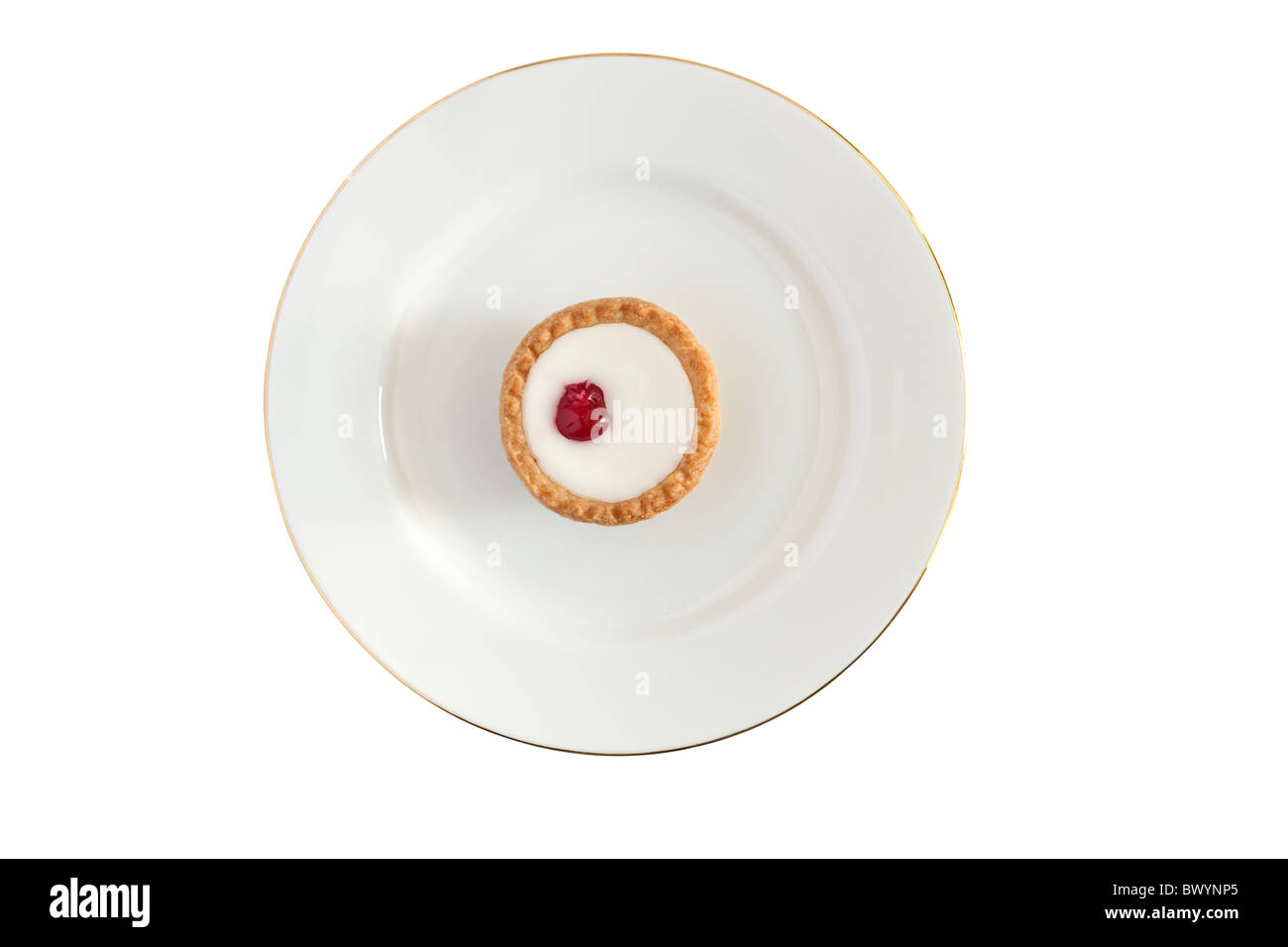 Solitary bakewell bun on a white plate plus clipping path - Stock Image