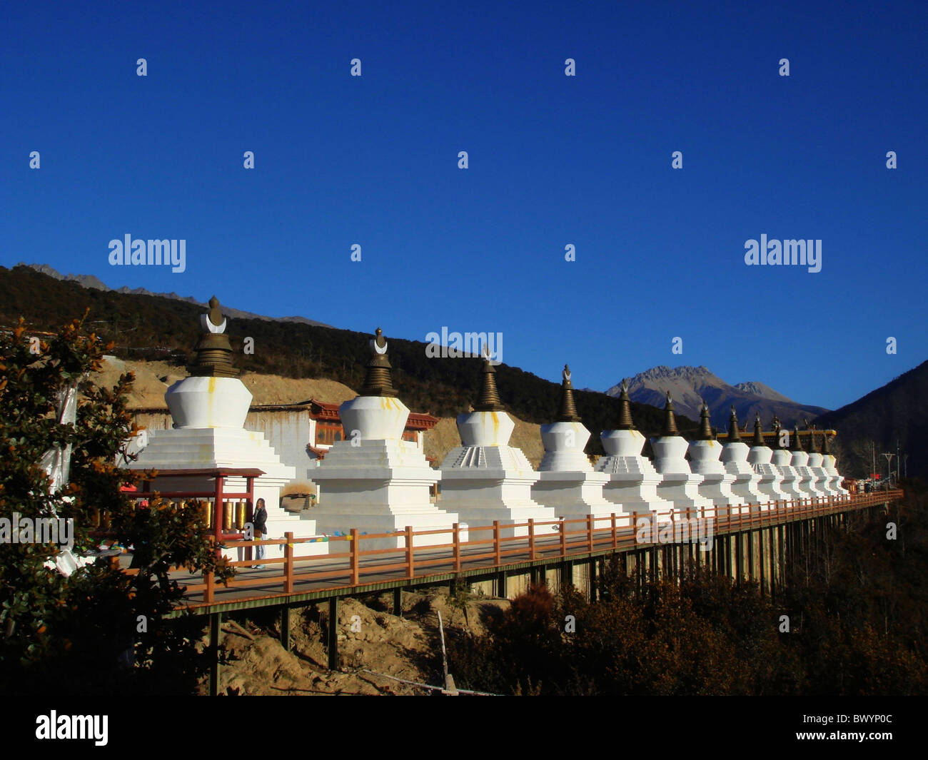 13 nos of stupas representing 13 peaks of Meili Snow Mountain, DiQing Tibetan Autonomous Prefecture, Yunnan Province, - Stock Image