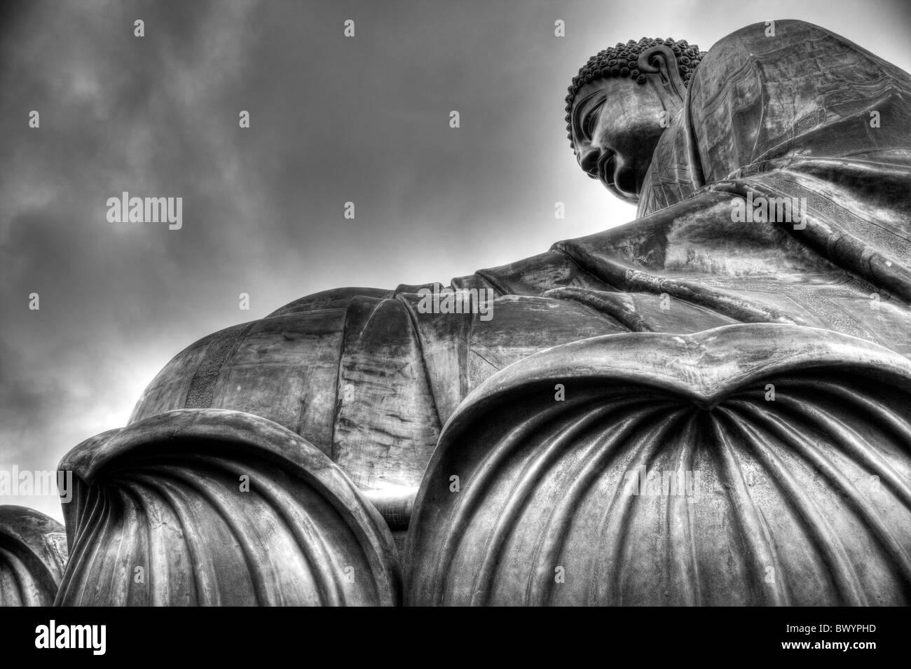 Hong Kong, Lantau island seated bronze statue the Big Buddha - Stock Image