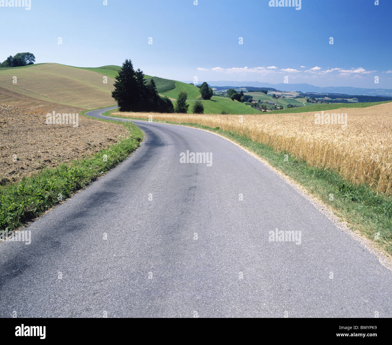 Emmental Eriswil fields hills canton Bern country road street agriculture Switzerland Europe street - Stock Image