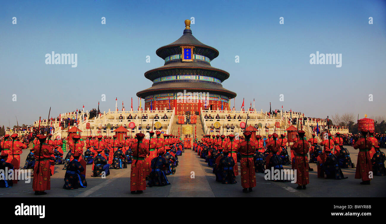 Chinese performing ancient ritual during Spring Festival in Hall of Prayer for Good Harvests, Temple of Heaven, - Stock Image