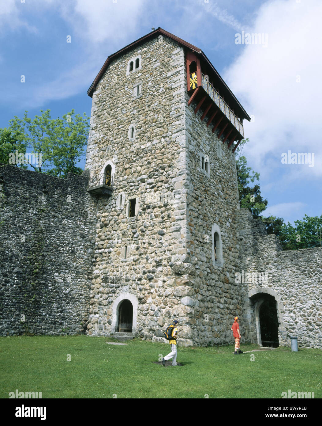 castle historical canton St. Gallen Middle Ages castle Iberg Switzerland Europe Toggenburg tower rook Wat - Stock Image