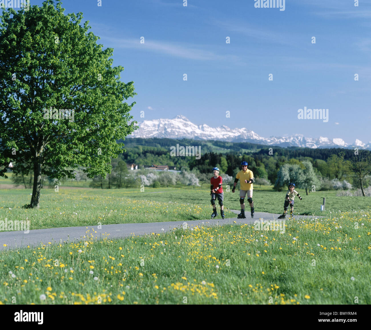 family spare time spring Inline Skating canton Thurgau scenery country road street Rollerblades Rollerbladi - Stock Image