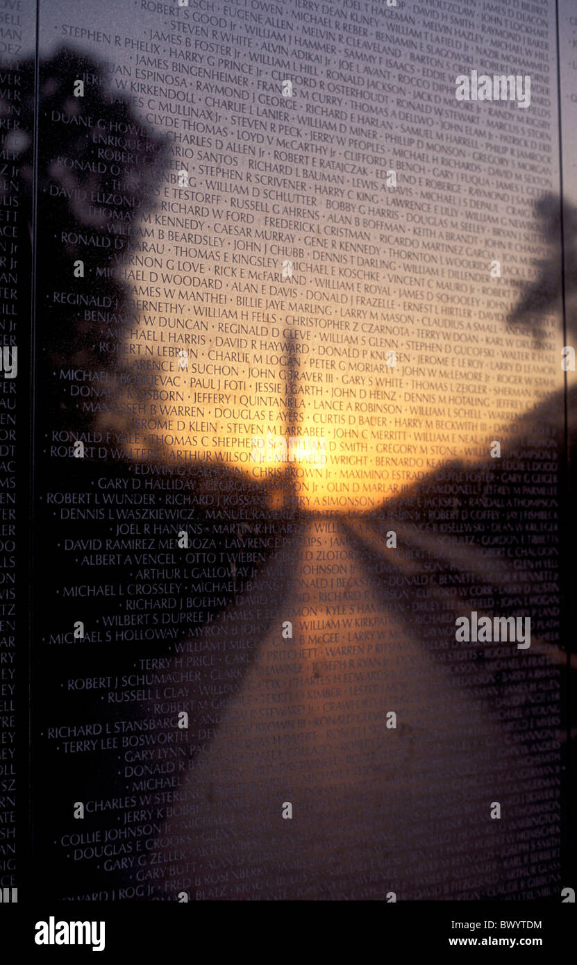 army District of Columbia inscription monument soldier USA America United States Vietnam Veterans Memorial - Stock Image