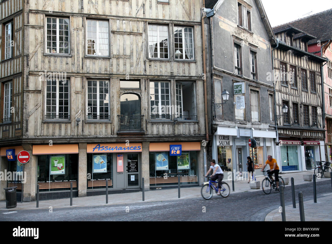 Half timbered medieval buildings in Troyes, France Stock Photo