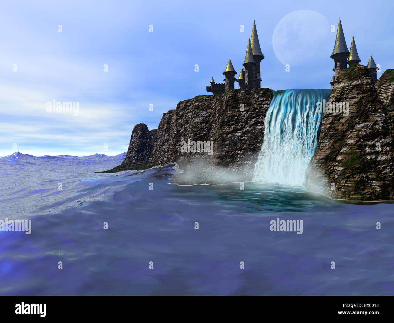 A beautiful waterfall meets the deep blue ocean in this fantasy castle image. - Stock Image