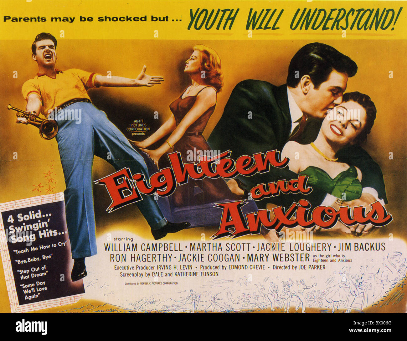 EIGHTEEN AND ANXIOUS Poster for 1957 Republic film with Mary Webster and Jim Backus - Stock Image