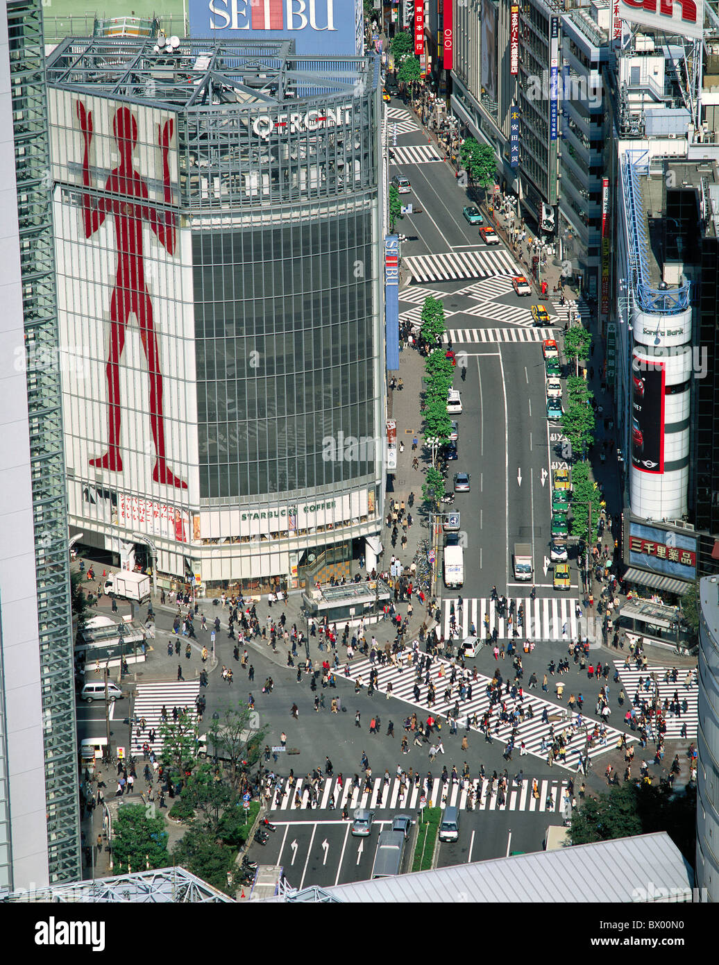 pedestrian's stripes Japan Asia crossroad intersection Shibuya District Tokyo overview - Stock Image
