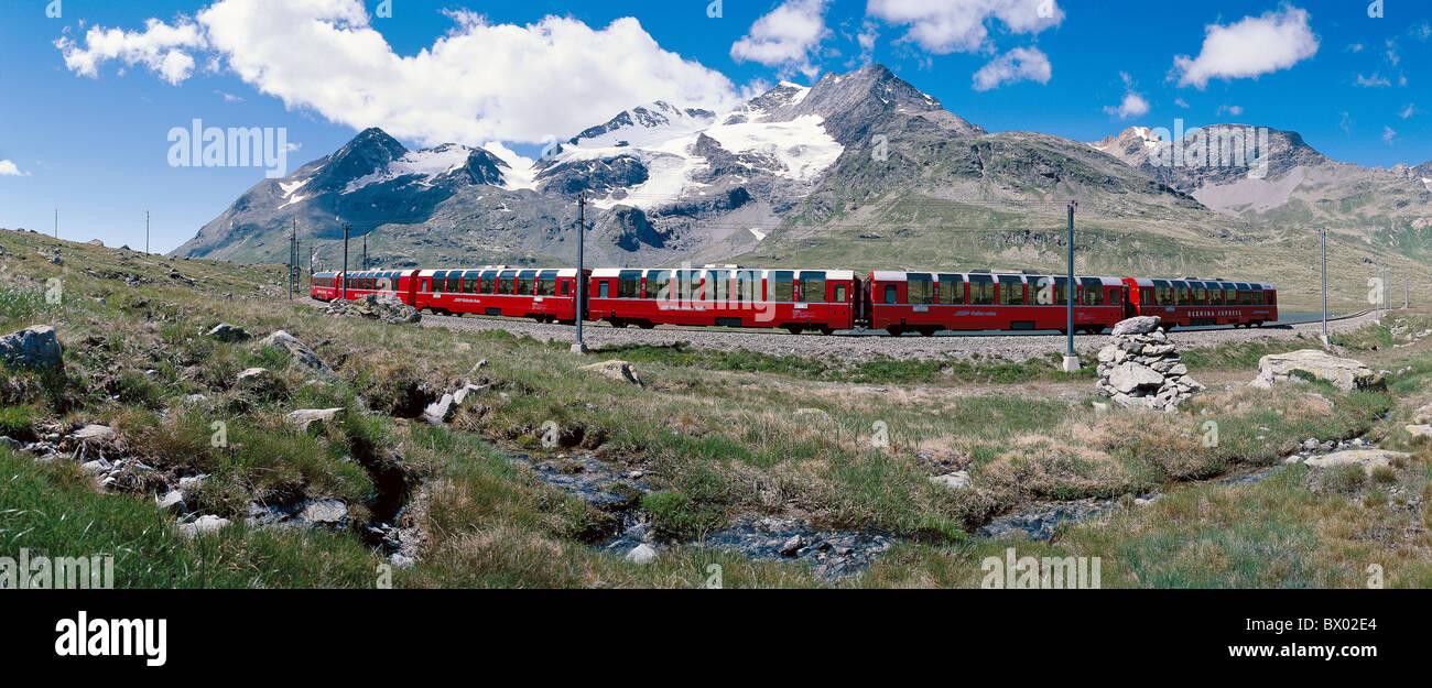 railway RhB Bernina express train modern train mountain