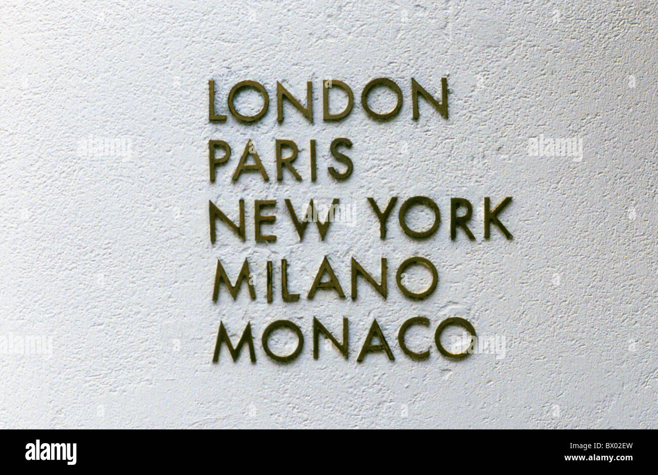 Bahnhofstrasse street geography house wall London Milano fashion house Monaco New York Paris towns cities - Stock Image