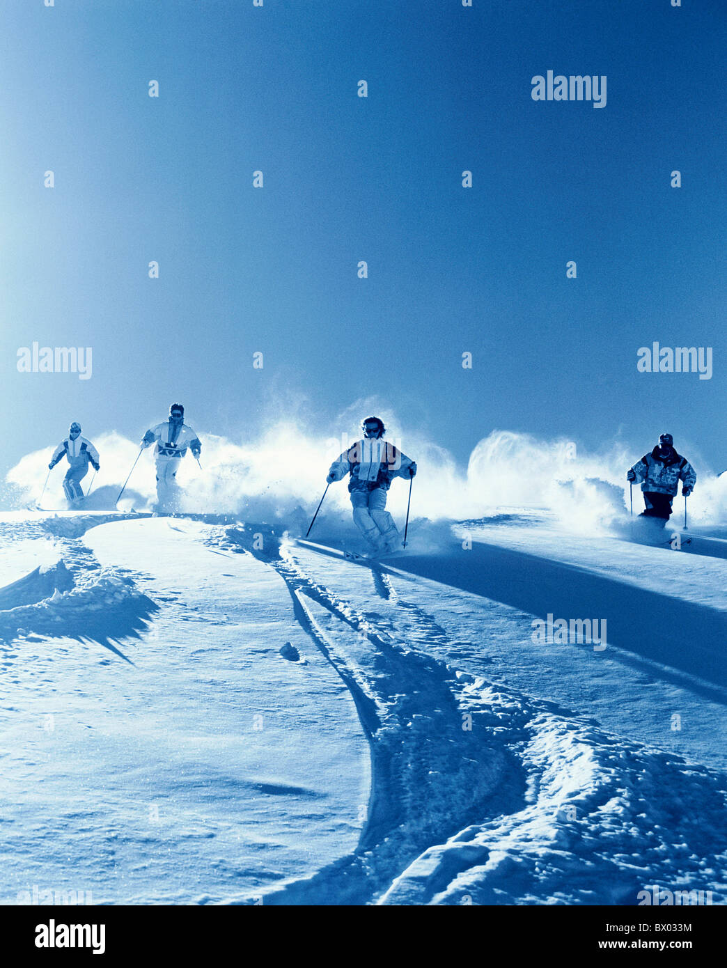 mountains Carving ski group monochrome snow ski skiing sport deep snow deep snow driving winter winter s - Stock Image