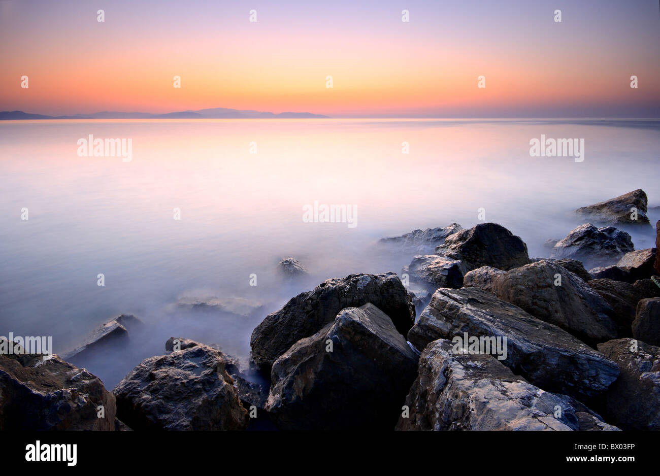 Scenery from the Aegean coast just after the sunset. - Stock Image