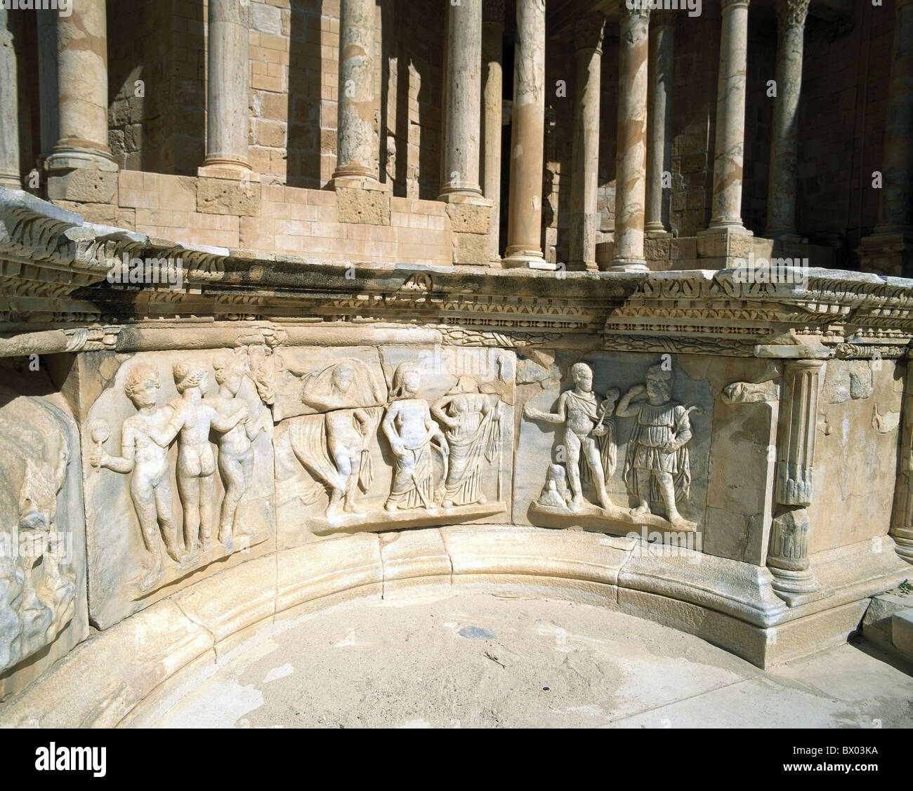 antique Ancient world antiquity detail historical Libya relief Roman Roman ruins Sabratha theater UNESCO - Stock Image