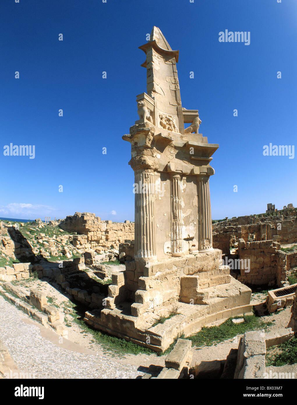 antique Ancient world antiquity historical Libya mausoleum from Esp. Punic hellenistisch ruins Sabratha UNE - Stock Image