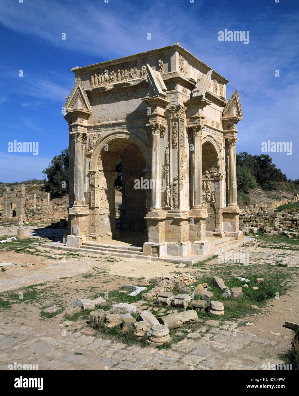 antique Ancient world antiquity Leptis Magna Libya Roman Roman triumphal arch of Septimus Severus UNESCO - Stock Image