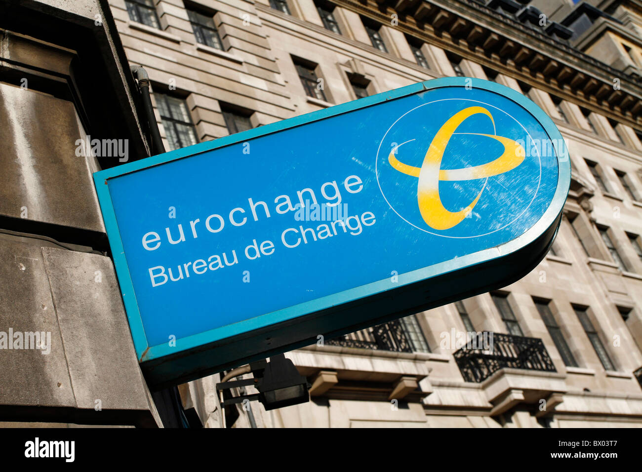 Eurochange bureau de change sign, London, England - Stock Image