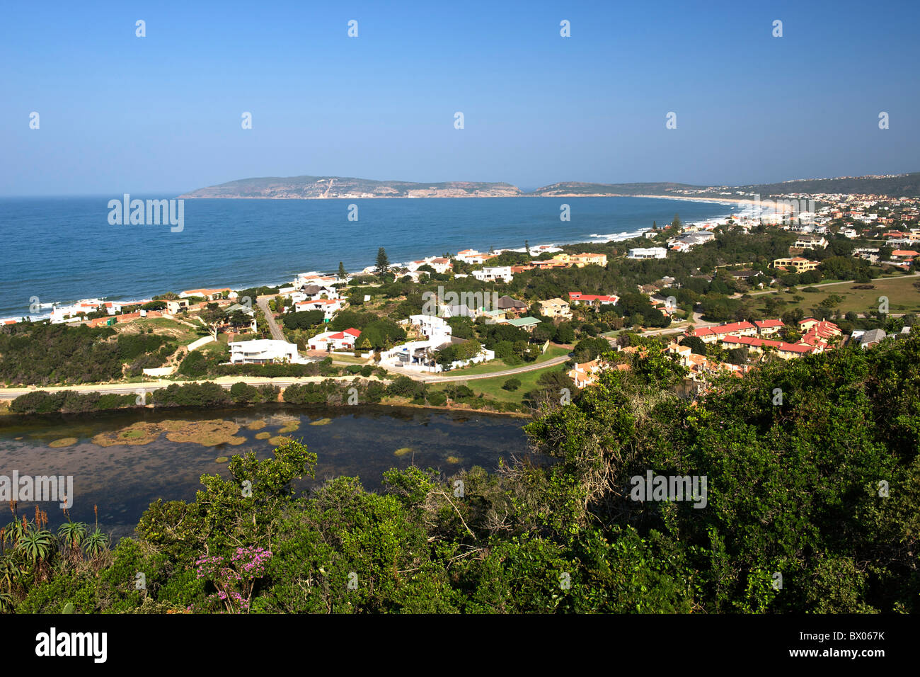 Plettenberg Bay and Robberg beach on the Garden Route in South Africa. - Stock Image