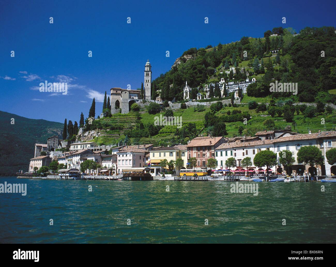 village cemetery canton Ticino church Lago di Lugano lake Lugano lake sea lake Lugano lake sea Morcote p - Stock Image