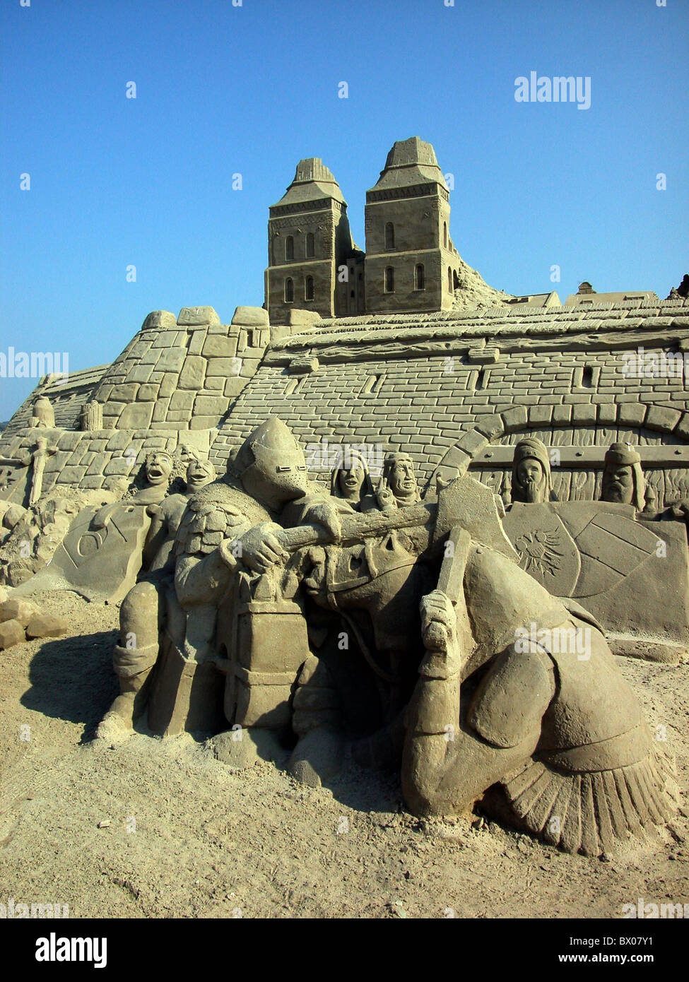 Germany Europe figures art skill Middle Ages Baltic Sea knight sand sand castle sand art sand sculptures - Stock Image