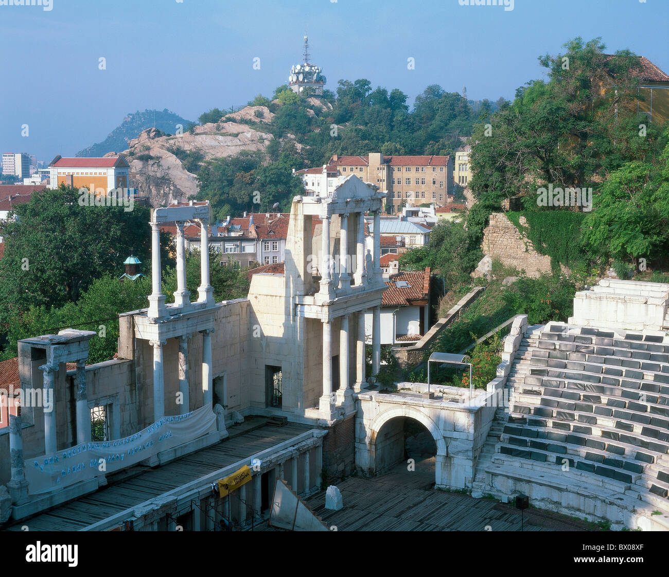 amphitheater Ancient world antiquity antique cutting part stage construction Bulgaria Plovdiv Roman column - Stock Image
