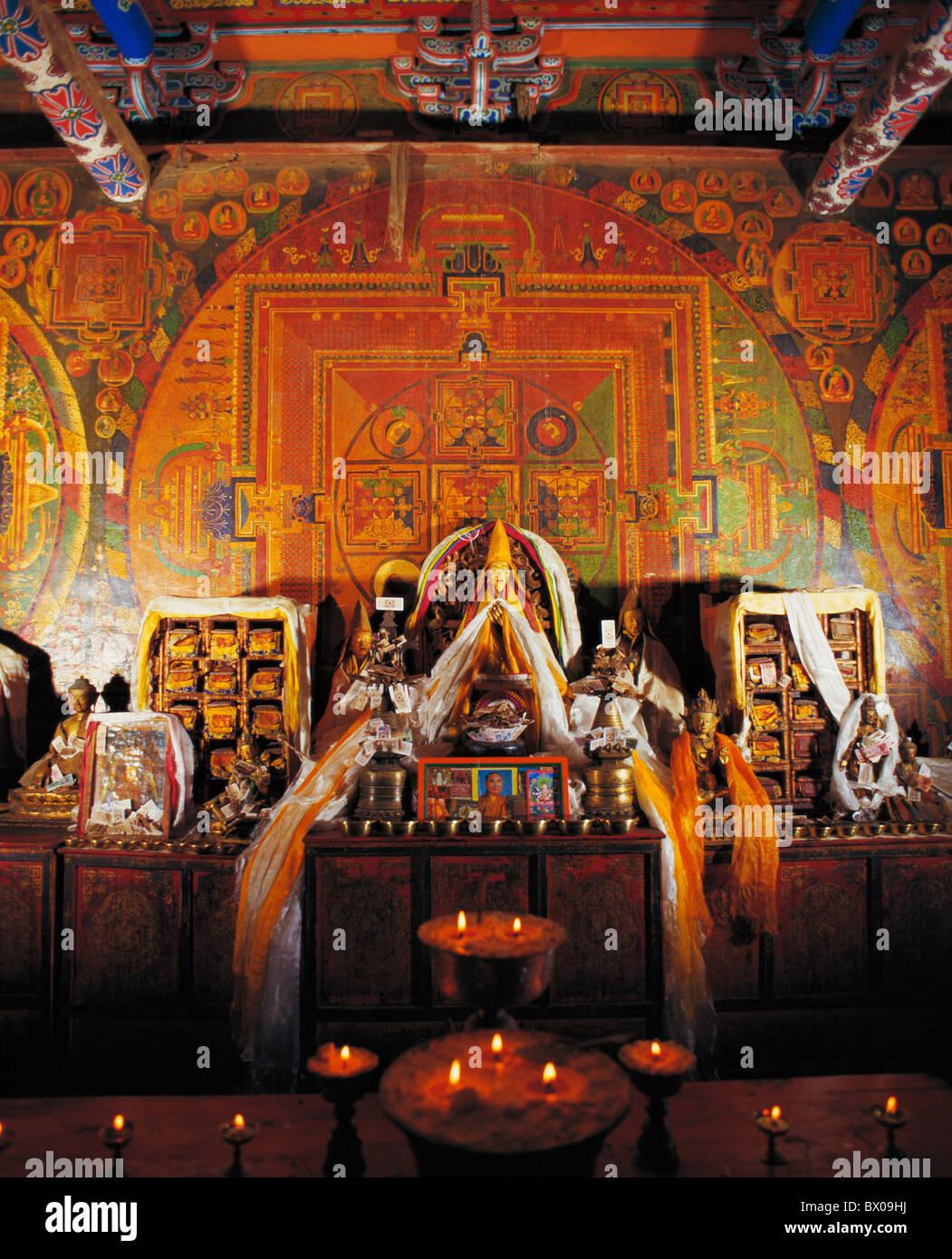 Scripture Hall in Xalu Monastery, Xigaze, Tibet, China - Stock Image