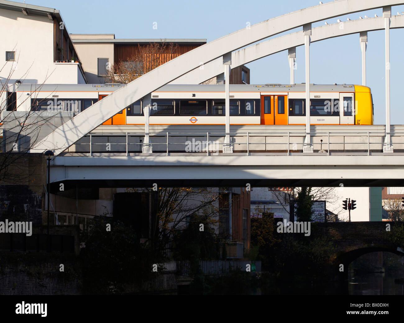 East London line overground train, Hackney, London, England - Stock Image