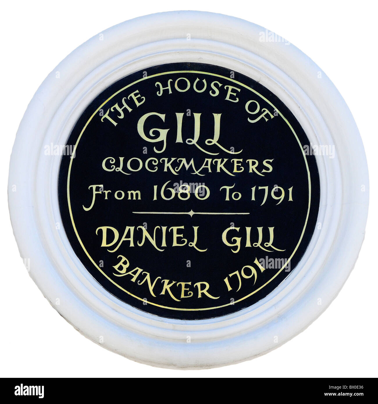 Rye, E Sussex, England, UK. Wall plaque. The House of Gill - Clockmakers - Stock Image
